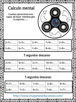 Fichas Para El Calculo Mental Aprovecha Los Spinners Imagenes