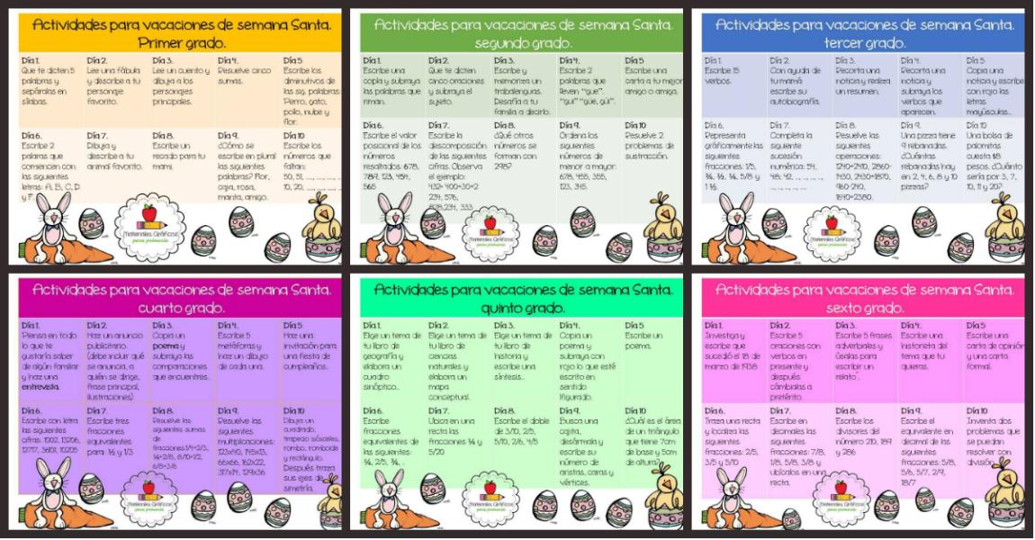 Calendario Para Ninos De Kinder.Calendario De Actividades Para Vacaciones De Semana Santa