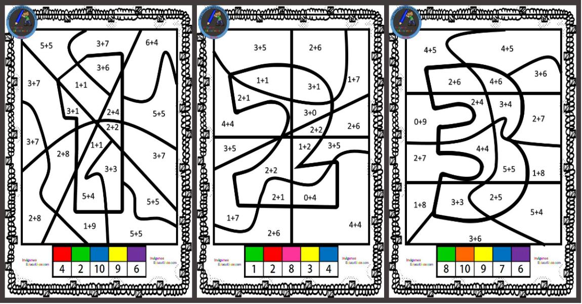 El número escondido colorear por sumas - Imagenes Educativas