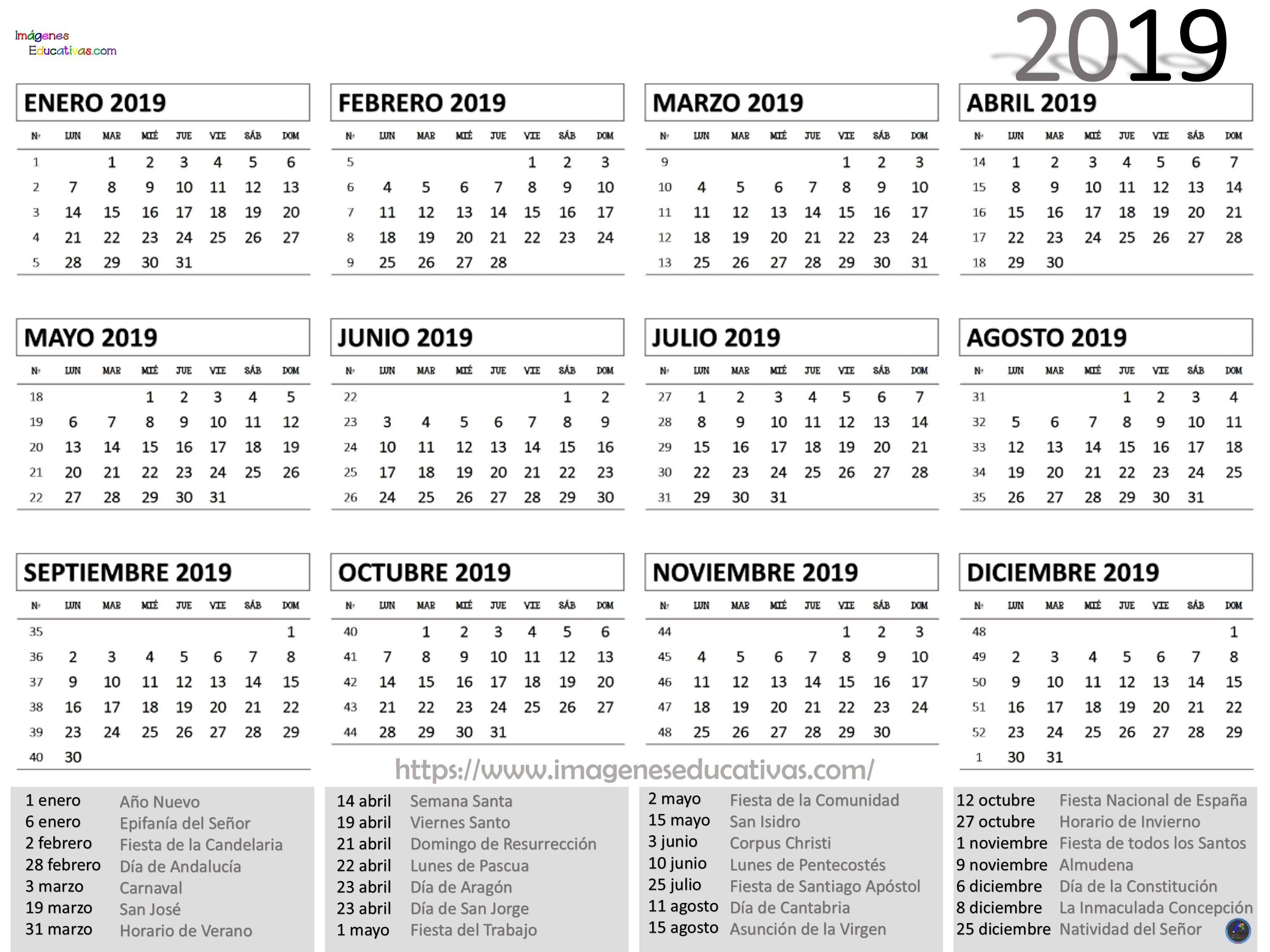 Calendario 2020 Argentina Para Imprimir Pdf.Calendario 2019 Imprimir