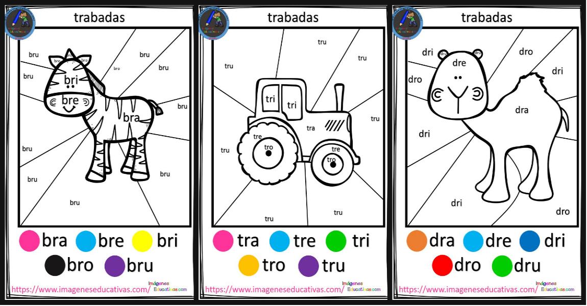 Silaba Dibujo: Fichas Para Colorear Por Trabadas