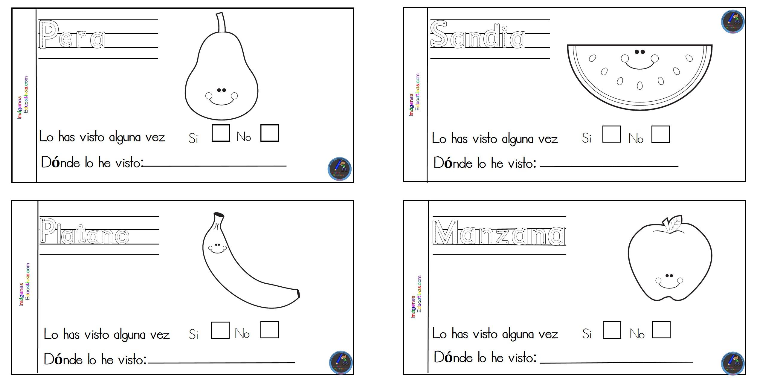MINI CUADERNO para colorear frutas y verduras (3) - Imagenes Educativas
