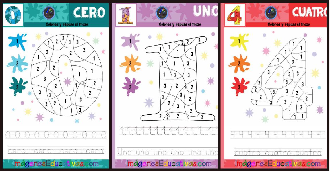 Fichas De Repaso Para Colorear Por Números Los Números