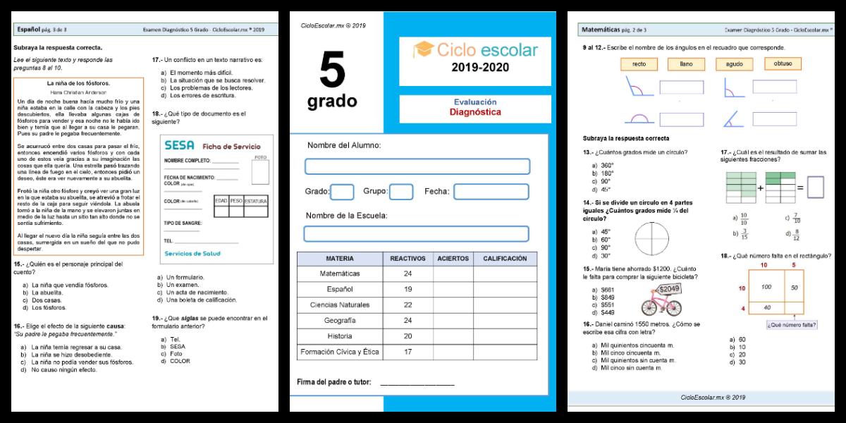 Examen Diagnóstico Quinto Grado 2019 2020 Imagenes Educativas