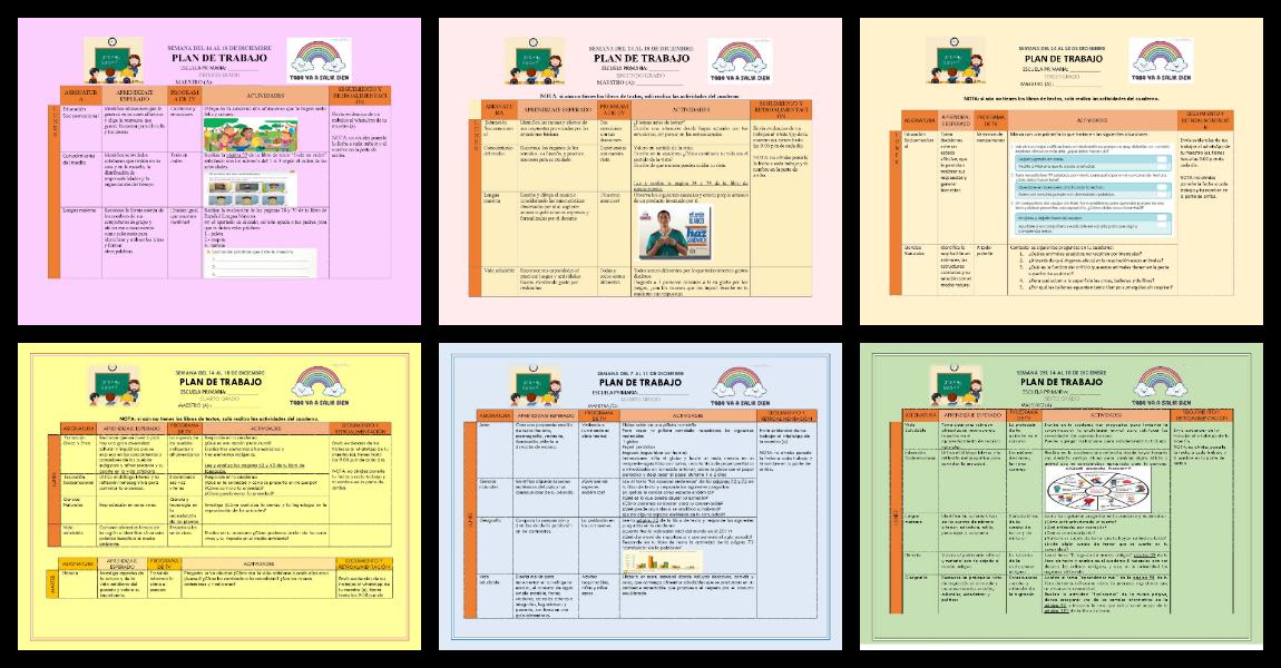 Plan De Trabajo Semana 17 Del 14 Al 18 De Diciembre Todos Los Grados Y Materias 1º 2º 3º 4º 5ºy 6º Imagenes Educativas