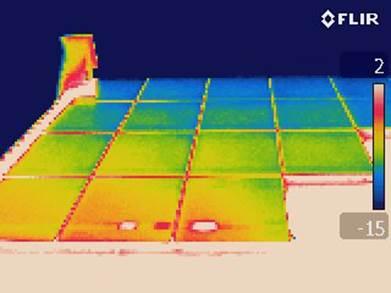 Thermogramme de cellues défectueuses dans un panneau photovoltaïque