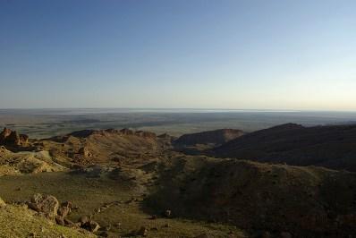 Le Chott el Djerid vu depuis le Djebel Thelja aux environs de Redayef - Tunisie 2009