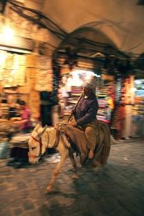 Les ânes sont encore utilisés pour livrer les plus petites ruelles des souks, Alep, Syrie, 2010