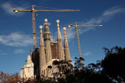 Sagrada Familia, les tours en construction, Barcelone - 2015
