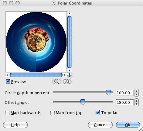 Polar Coordinates ( Filters --> Distorts --> Polar Coordinates)