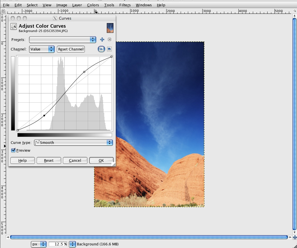 Creating an image Lomographic - Value/RGB Channel 'S' Curve