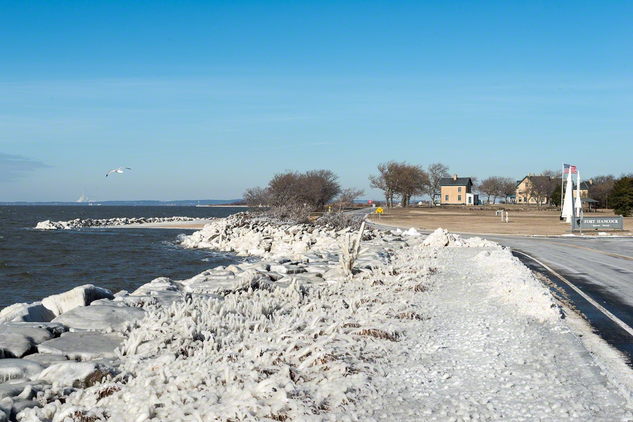 icy beach, winter, sandy hook, nj, fort hancock