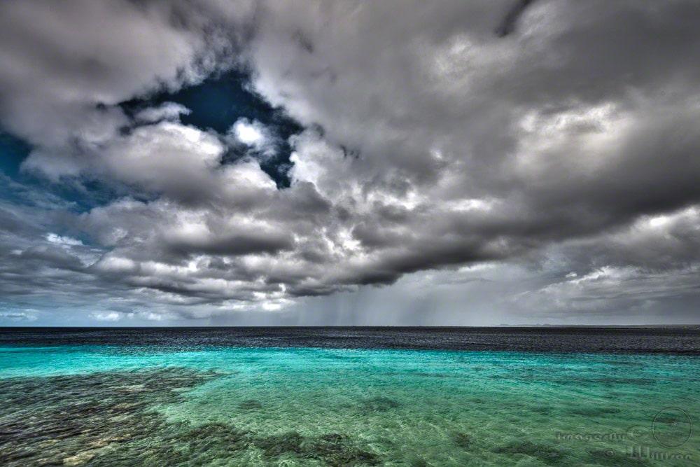 clouds, bonaire, ocean, caribbean, hdr