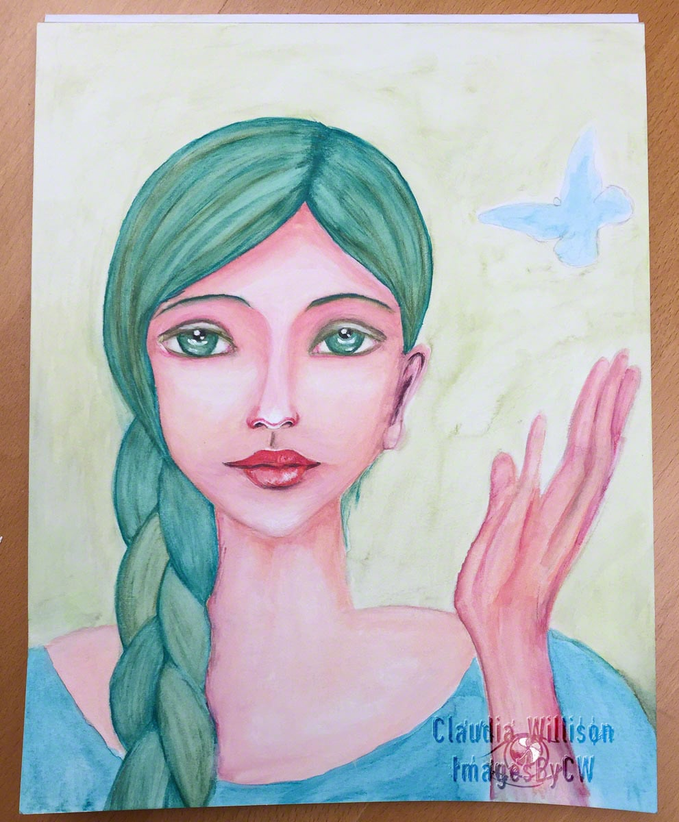 green, lady, paining, watercolor