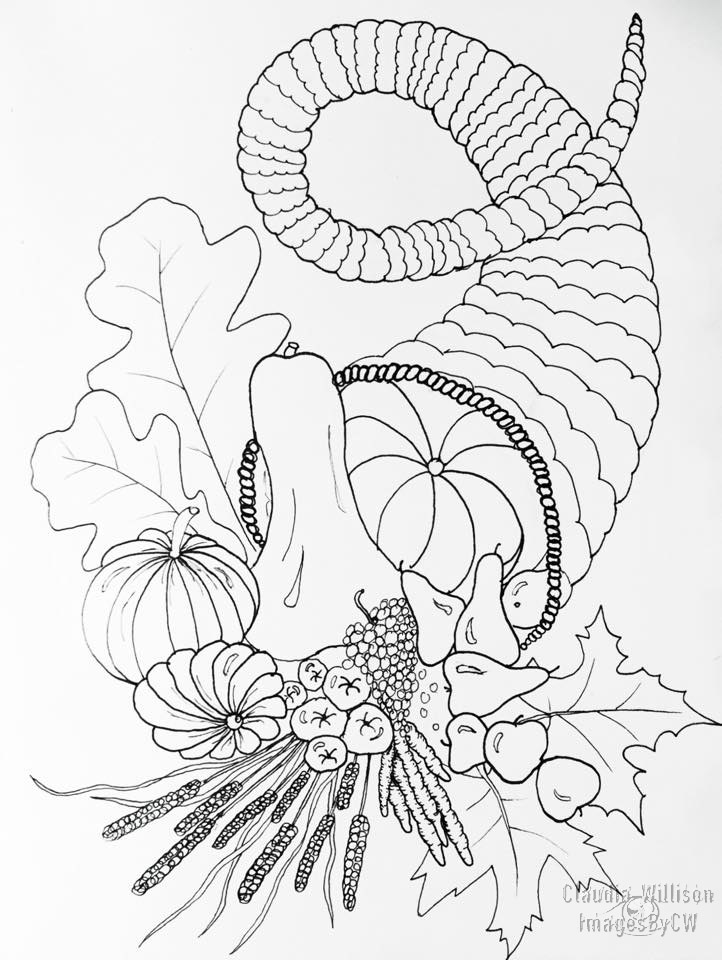 cornucopia, illustration, drawing, zendoodle