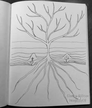 tree, roots, illustration, drawing