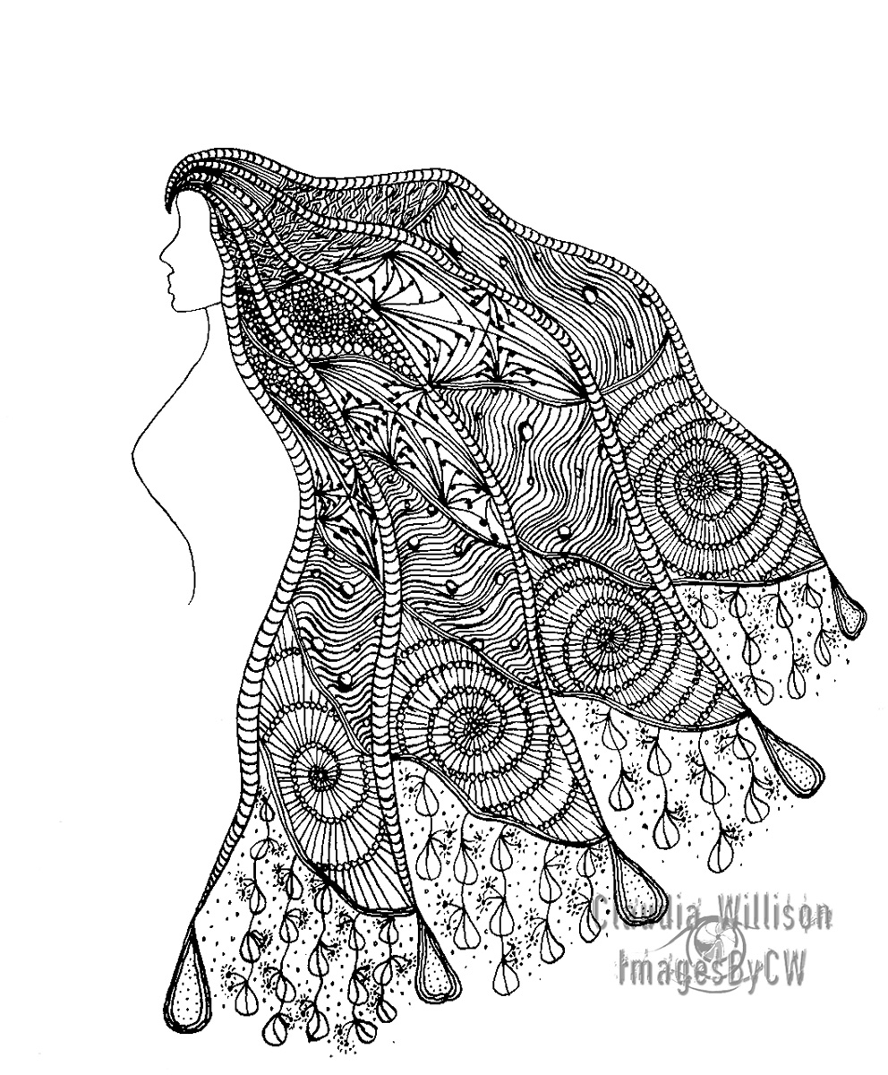 zendoodle, long, hair, illustration