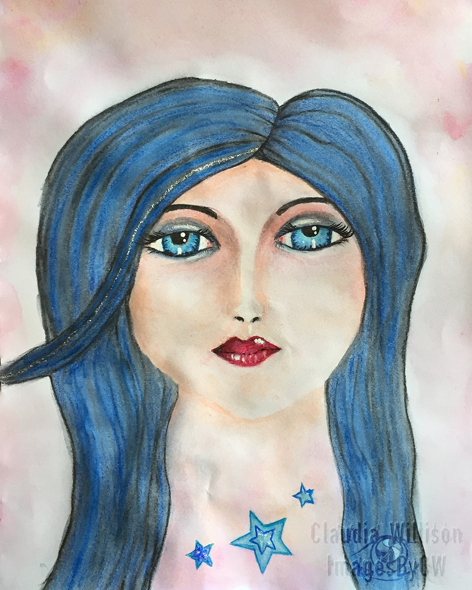 Blue lady, painting, face