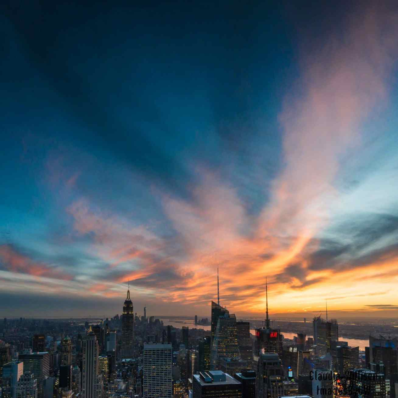 NYC sunset skyline Empire State