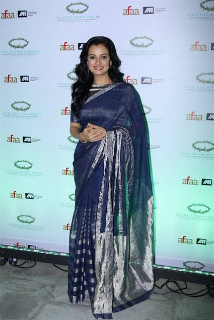 Dia Mirza Latest Hot Blue Traditional Saree PhotoShoot