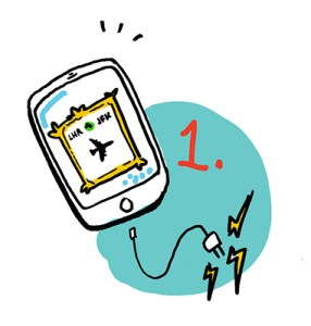ImageThink's travel tip #1 illustrates the importance of remembering to charge your phone and take a screenshot of your boarding pass before leaving for the airport.