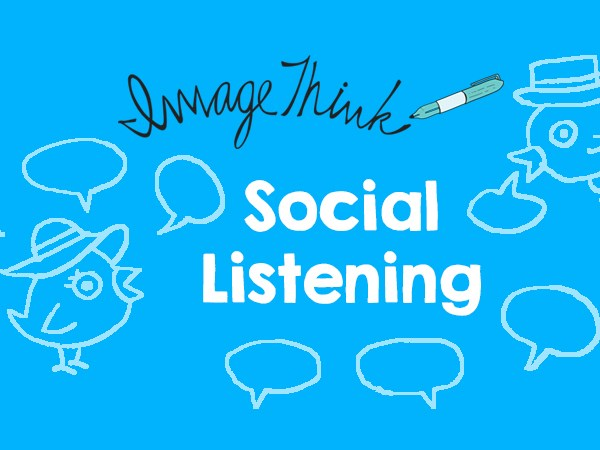 """ImageThink graphic recording social listening walls create engagement at conferences. Graphic showing twitter birds in conversation around the words """"social listening""""."""