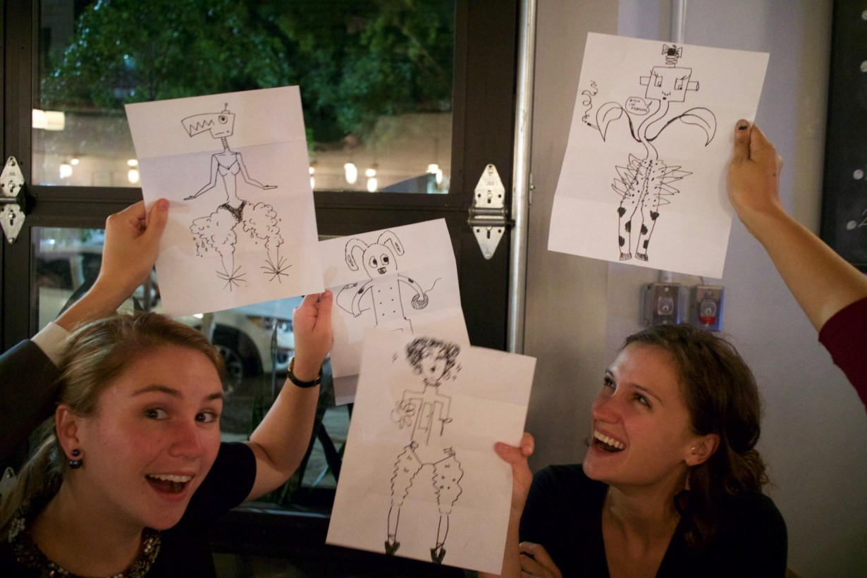 The new york based graphic recording firm, ImageThink, led interactive drawing games at their first drink and draw.