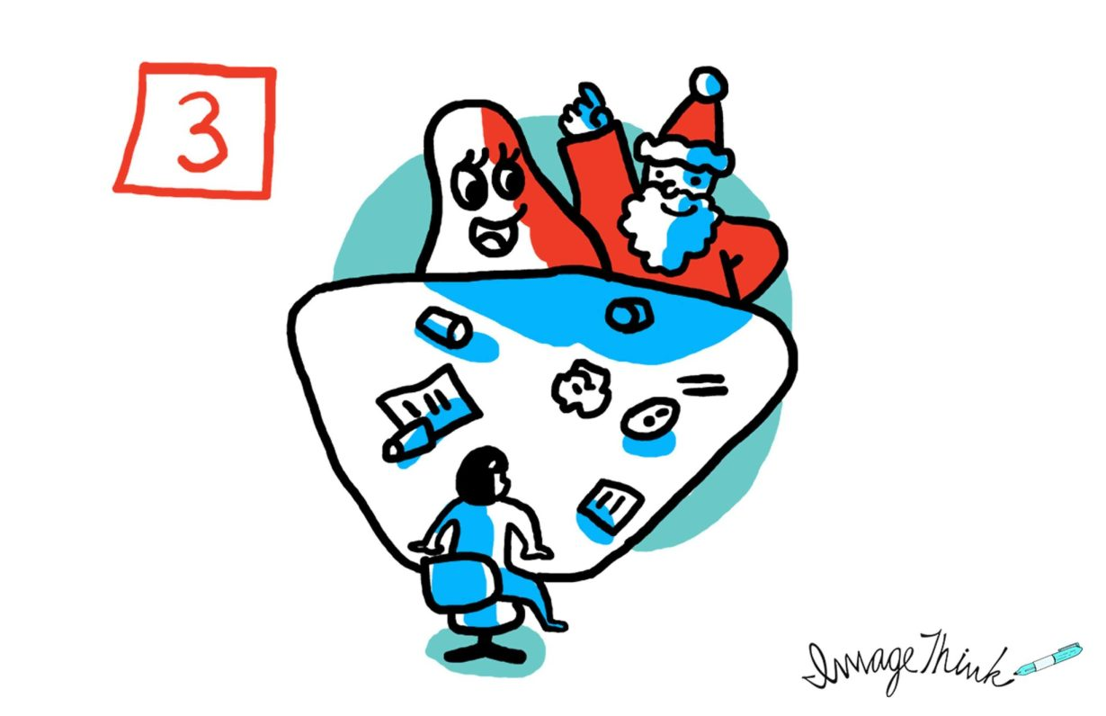 """7 Opportunities to Make Your Brainstorming Meeting a Success"" by ImageThink graphic recording. #3 the right people aren't in the room - illustration of a meeting with the back of a person facing a cartoon character and santa claus, with items all over the desk."