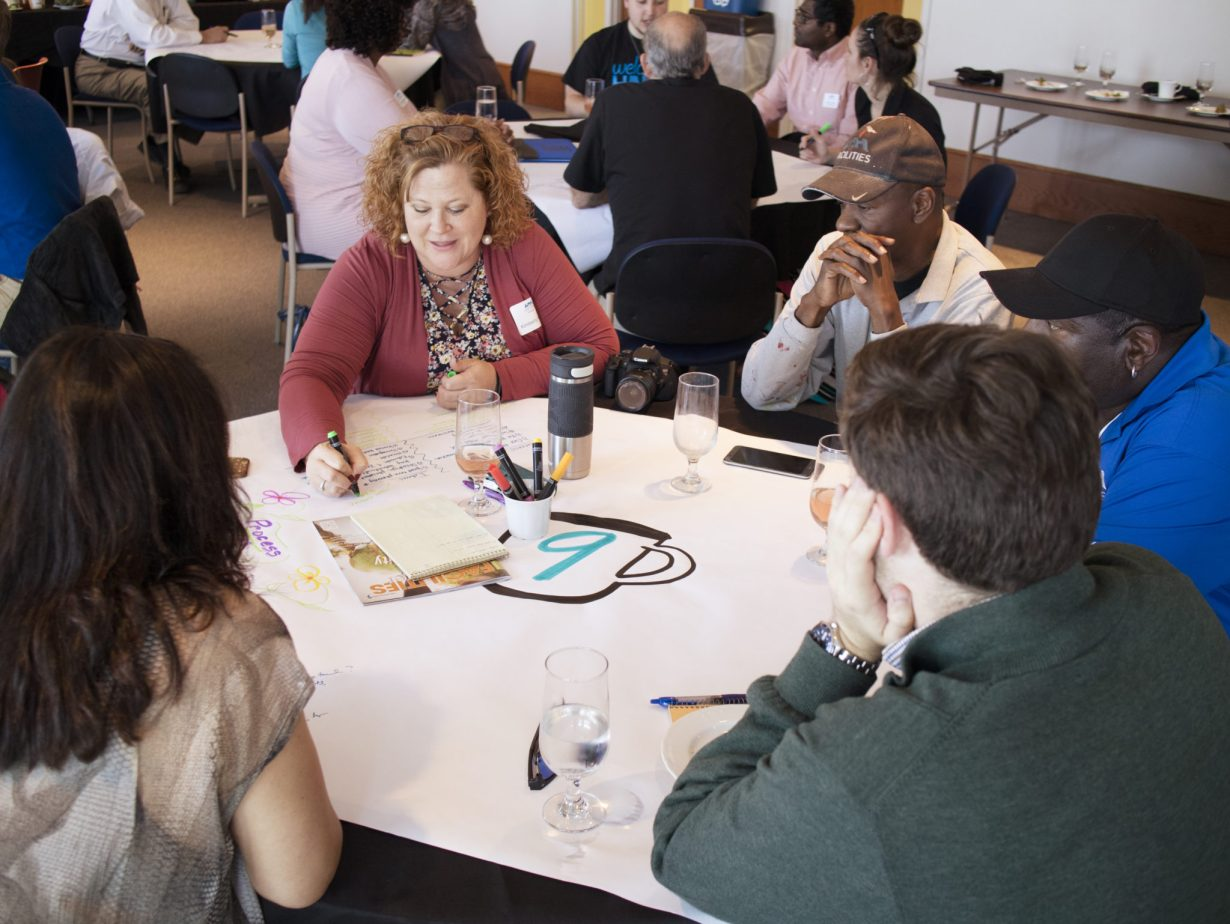 Participants engaging in a visual thinking brainstorming exercise at a workshop