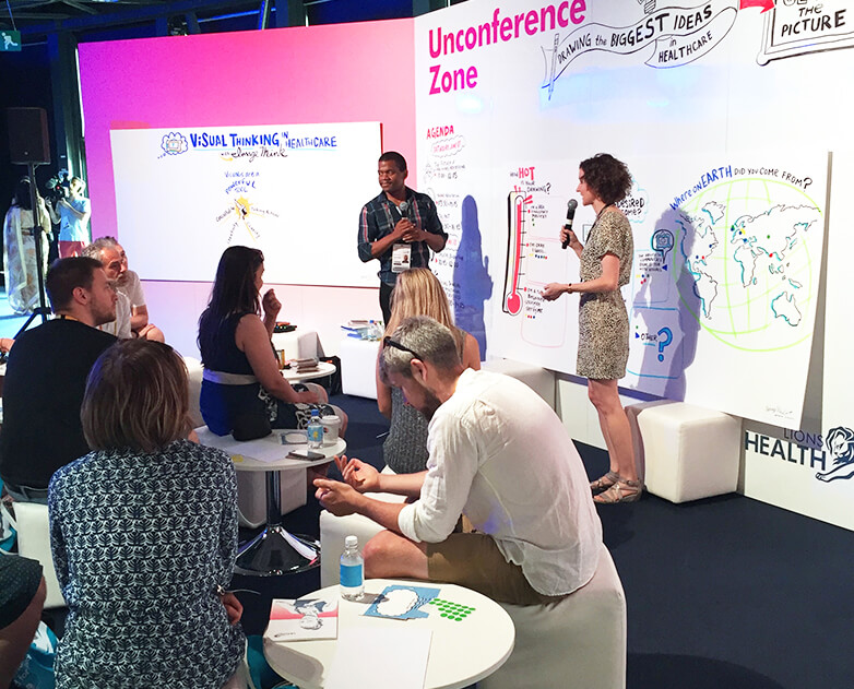 Nora Herting facilitated a visual thinking workshop at Cannes Lions Health, 2017.