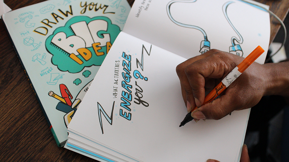draw your big idea is a book of sketchnote exercises for entrepreneurs by nora herting and heather willems of imagethink