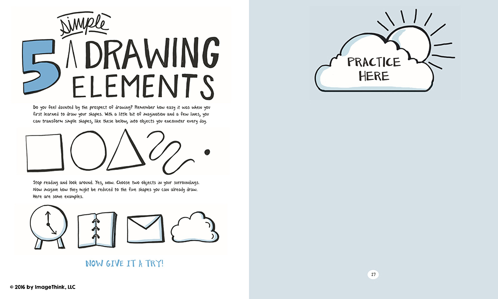 A sketchnote exercise from the book Draw Your Big Idea, by Nora Herting and Heather Willems.