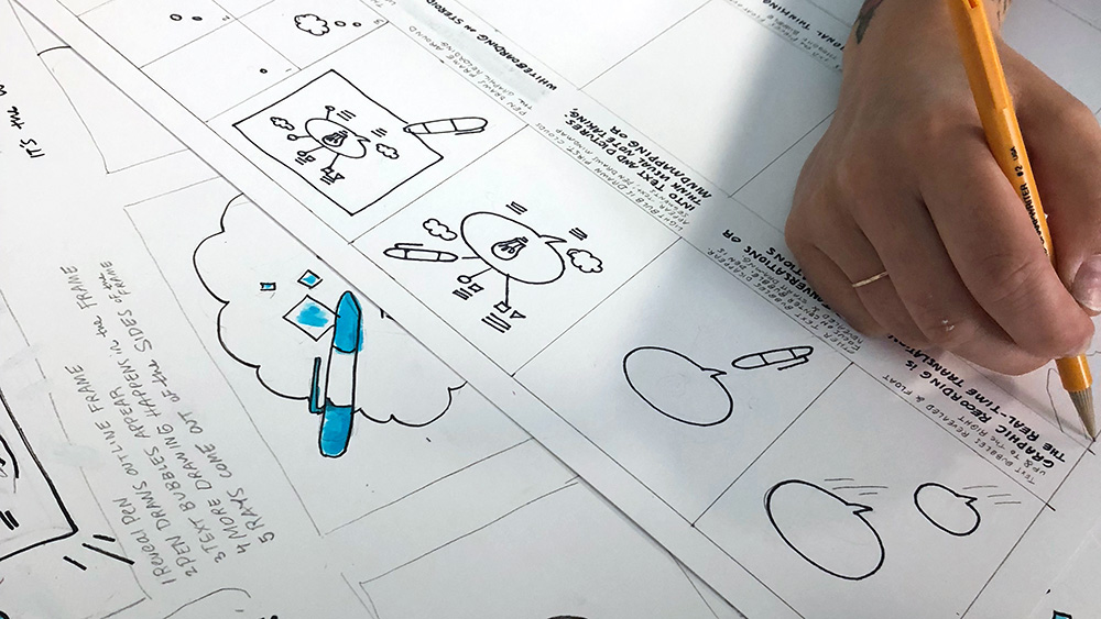 ImageThink graphic recorder creates storyboard sketches for an animated infographic.