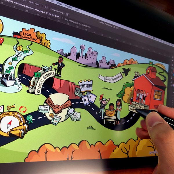 ImageThink graphic recorder uses a wacom cintiq to draw an infographic using a landscape metaphor.