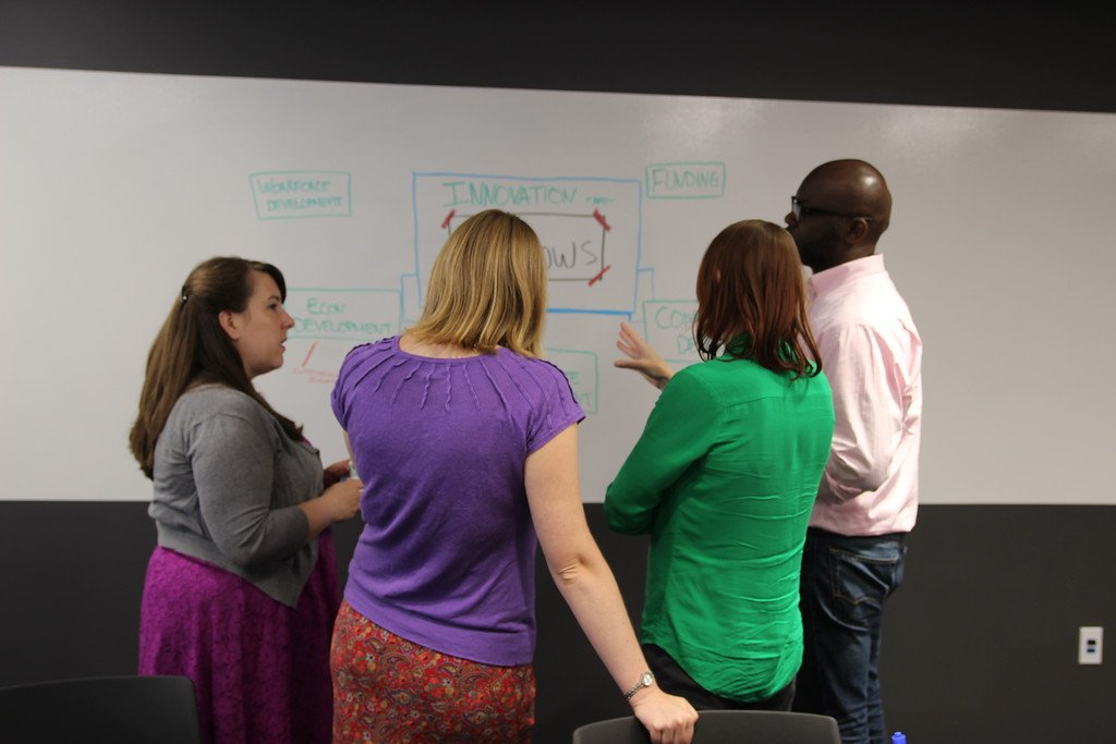 participants use imagethink's graphic recording tools to enable a standing brainstorm