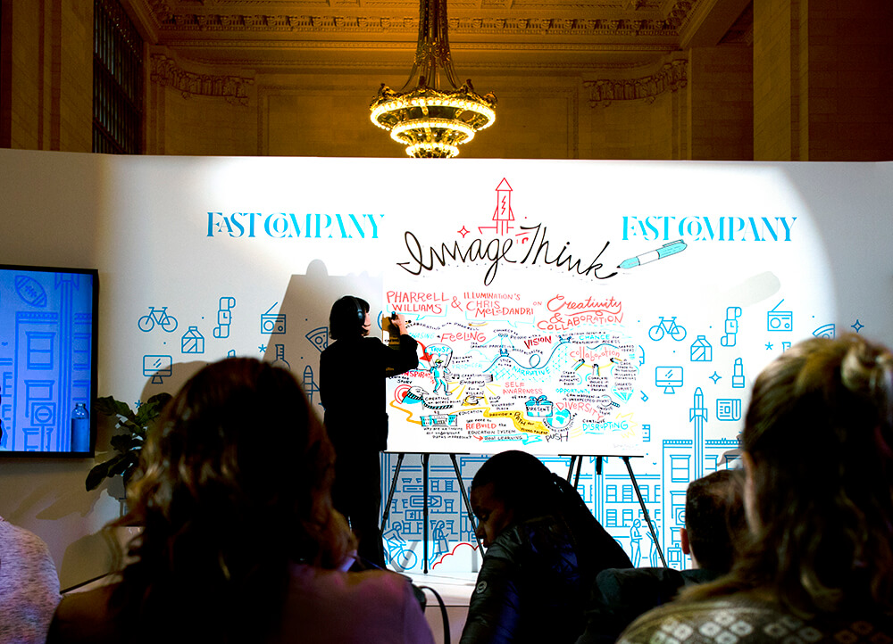 imagethink graphic recorder lilly lam illustrated insights from fast co's innovation festival in grand central terminal's vanderbilt hall