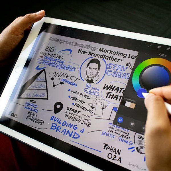 an imagethink graphic recorder uses the procreate app on an ipad to create a sketchnote