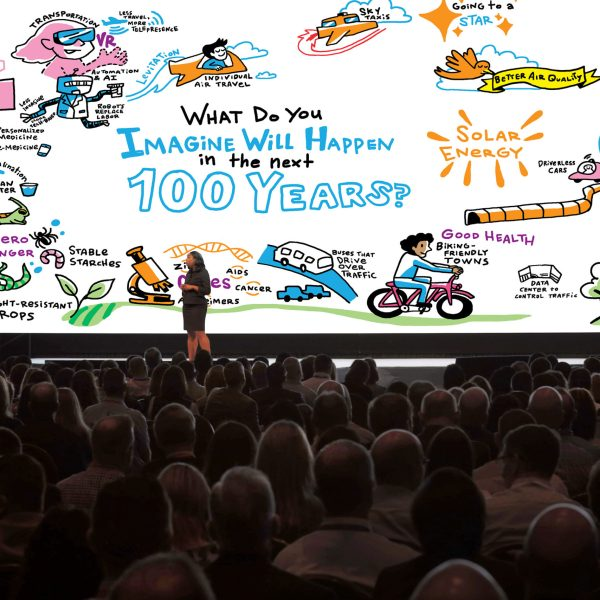 ImageThink on stage showcasing large format digital graphic recording conference support.
