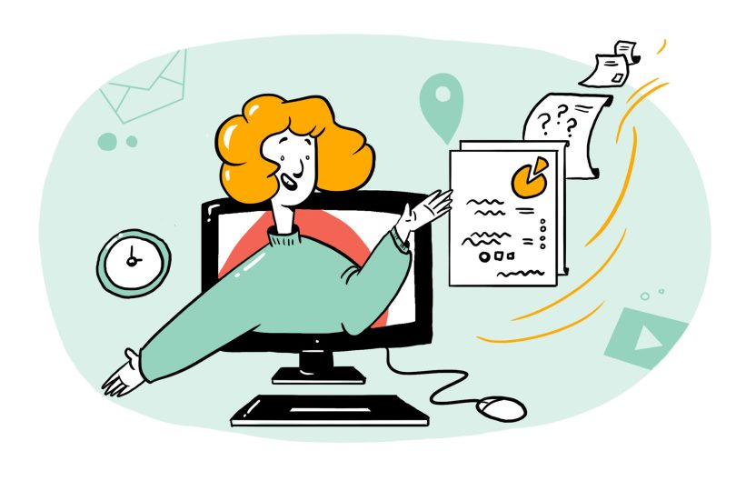 Illustration of a virtual facilitator coming out of a monitor
