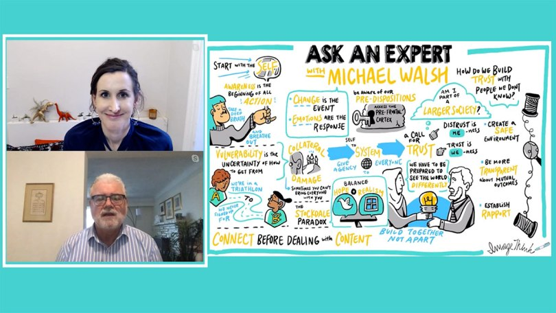 linkedin live interview with Nora Herting and Michael Walsh with live virtual graphic recording