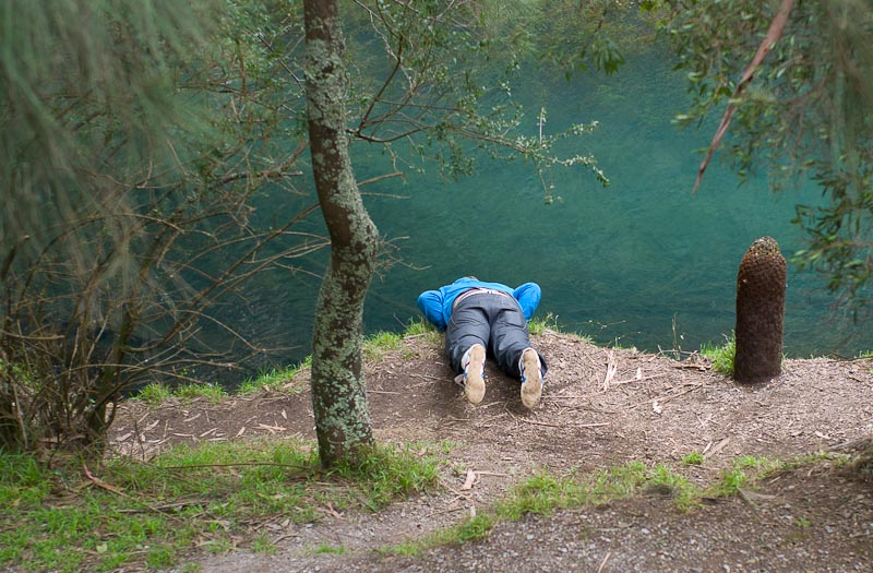 "the ""planking"" man by the blue lake"