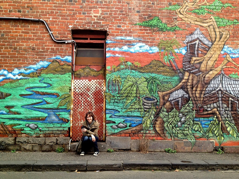 Sharon in an alleyway in North Melbourne, our new stomping grounds