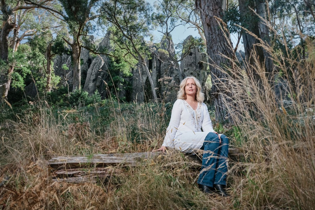 Anne Louise Lambert at Hanging Rock, photo by Sharon Blance, Melbourne photographer