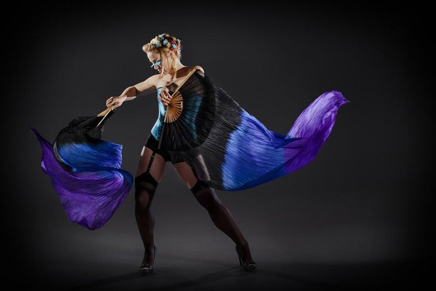 Fan Dance - burlesque cabaret promo photography by Sharon Blance Melbourne photographer - Image Workshop Photography