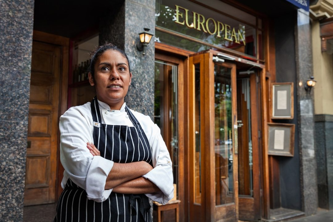 Indigenous apprentice Laura Kirby outside The European restaurant, photo by Melbourne photographer Sharon Blance