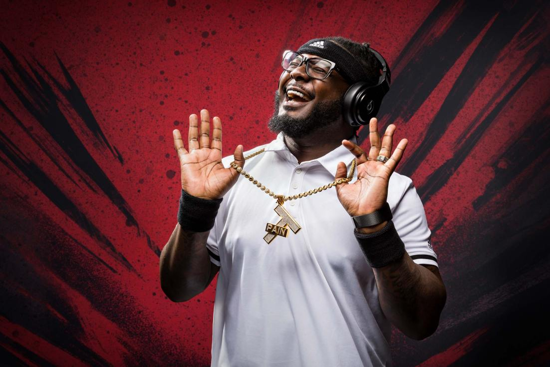 Celebrity portrait for rap icon T-Pain for a Beats by Dre brand activation as part of the Melbourne Open.