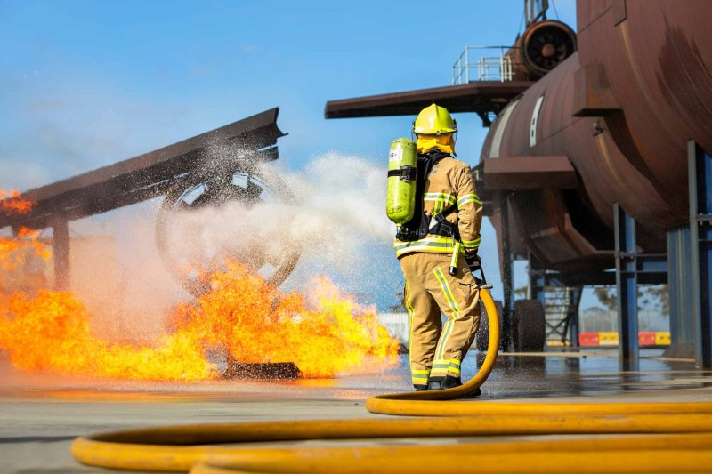 Aviation firefighter training photography by Image Workshop Melbourne photographers