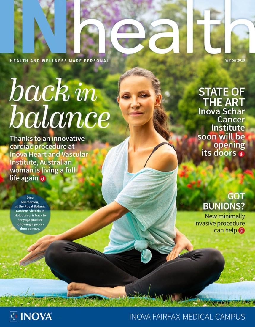 Woman doing yoga in a park on the cover of INhealth magazine