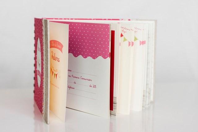 libro de firmas comunión niña rosa flores motas ilustrado ilustracióndonostia gipuzkoa