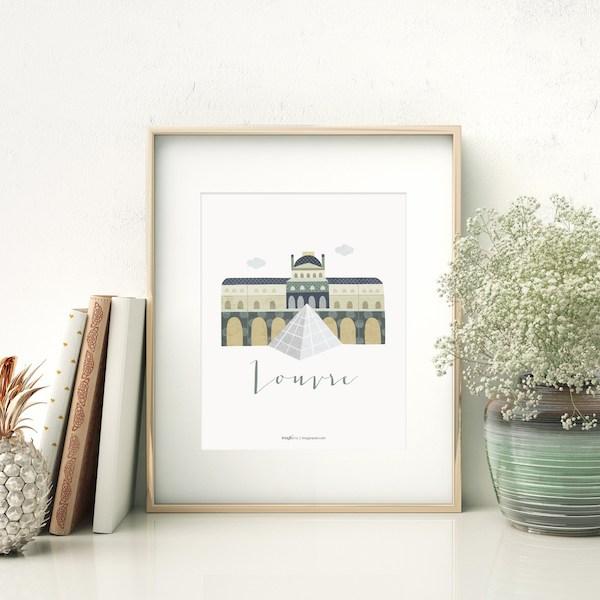 lámina Louvre paris cuadros decoracion hogar ilustración